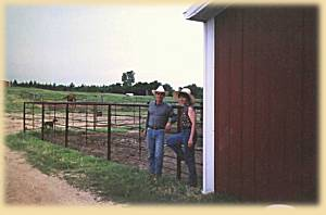 Dexter and Ann outside the barn
